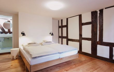 Room with half-timbered structure